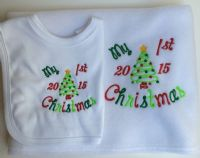 1st Christmas Baby Blanket and Bib Set